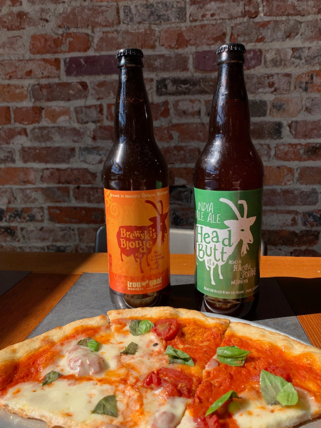pizza and two beers from Iron Goat Brewing