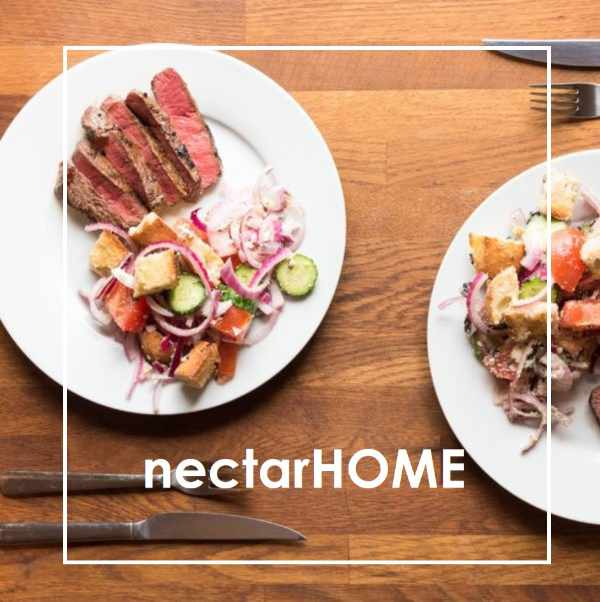 two plates with beef and salad overlaid with words nectarHOME