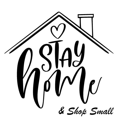 stylized rooftop over words Stay home and shop small