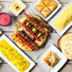 Kabob House skewers, rice, pitas, falafel
